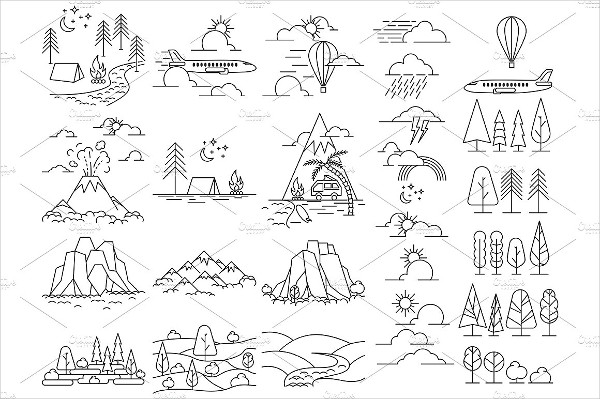 Nature Line Icon Landscapes with Mountains