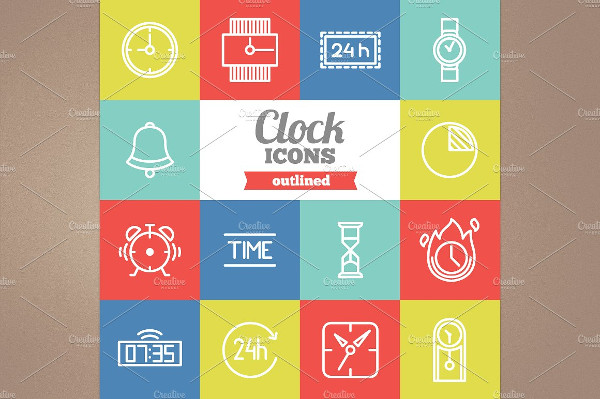 Outlined Clocks Icons