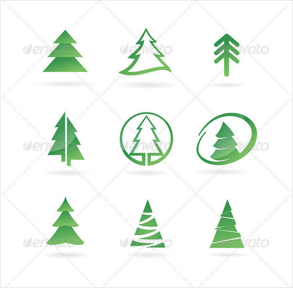 Pine Tree Abstract Icon Set