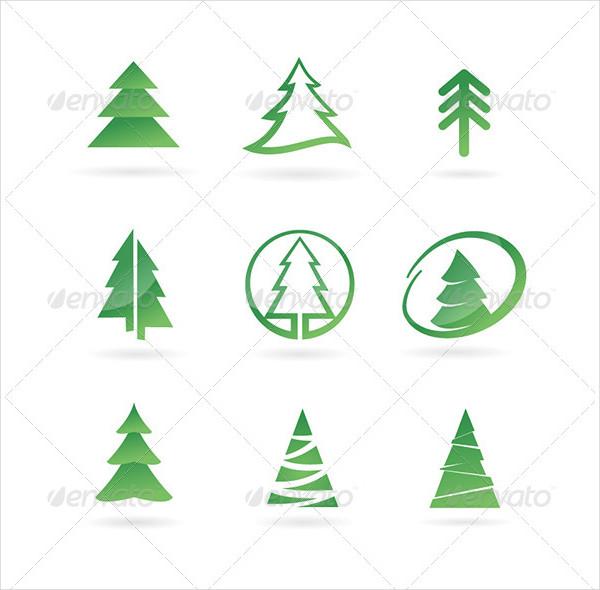Pine Tree Abstract Icon Set