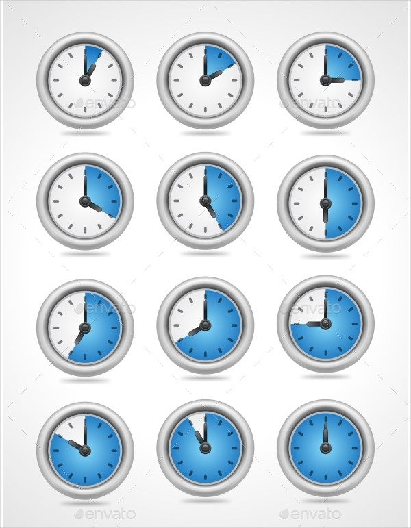 Round Clock Icon Set
