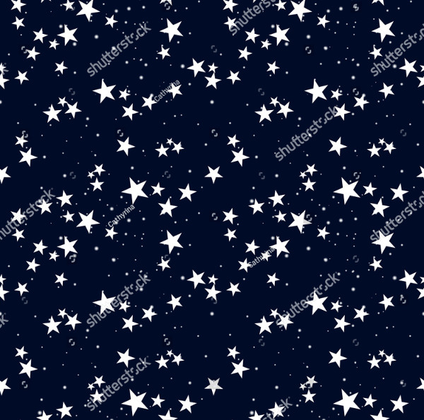 Seamless Pattern with Star in Dark Sky