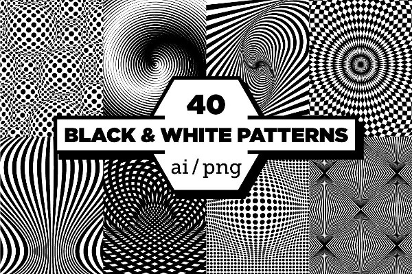 Set of 40 Black & White Patterns