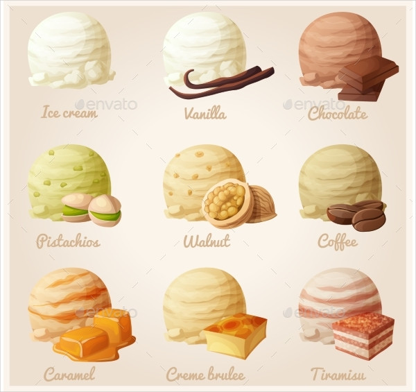 Set of Cartoon Ice Cream Icons
