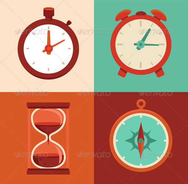 Set of Time and Clock Flat Icons