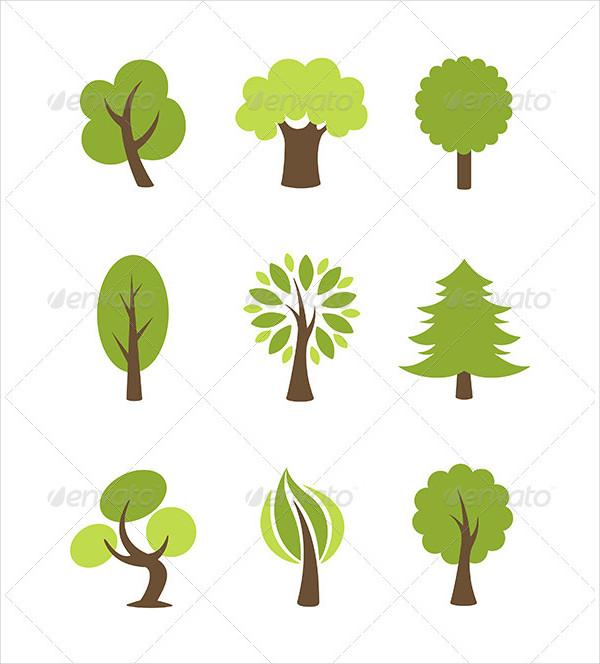 Stylish Tree Icon Set