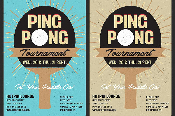 Table Tennis Tournament Flyer Template