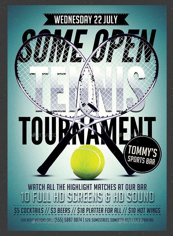 Tennis Tournament Advertising Flyer