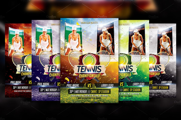 Fully Editable Tennis Championship Flyer Template