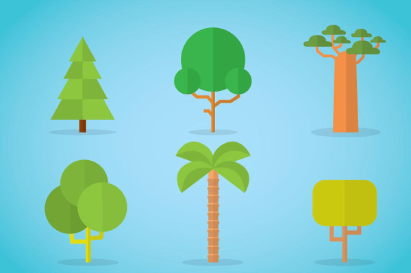 Tree Flat Icons Free Vector
