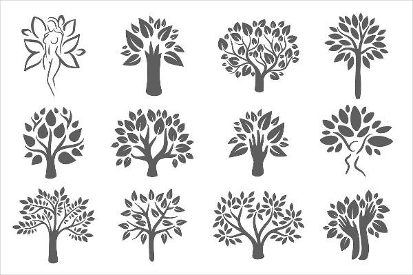 Tree Logo Illustration Icon Set