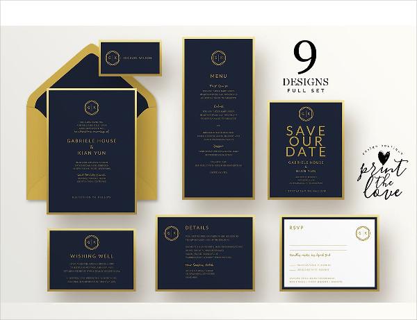 Wedding Invitations Suite in Classic Design