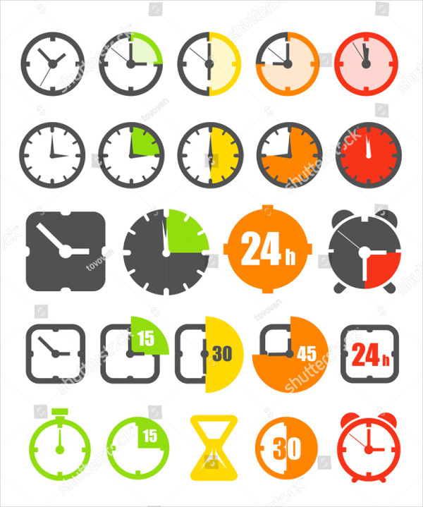 Different Color Timer Icons Collection