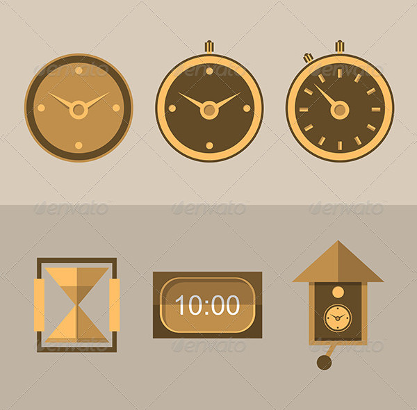 6 Icons for Different Kinds of Clocks