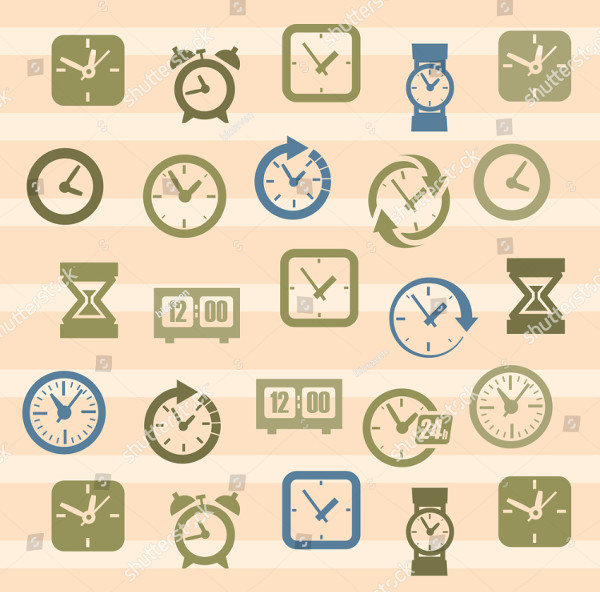 Vector Color Clocks Icons