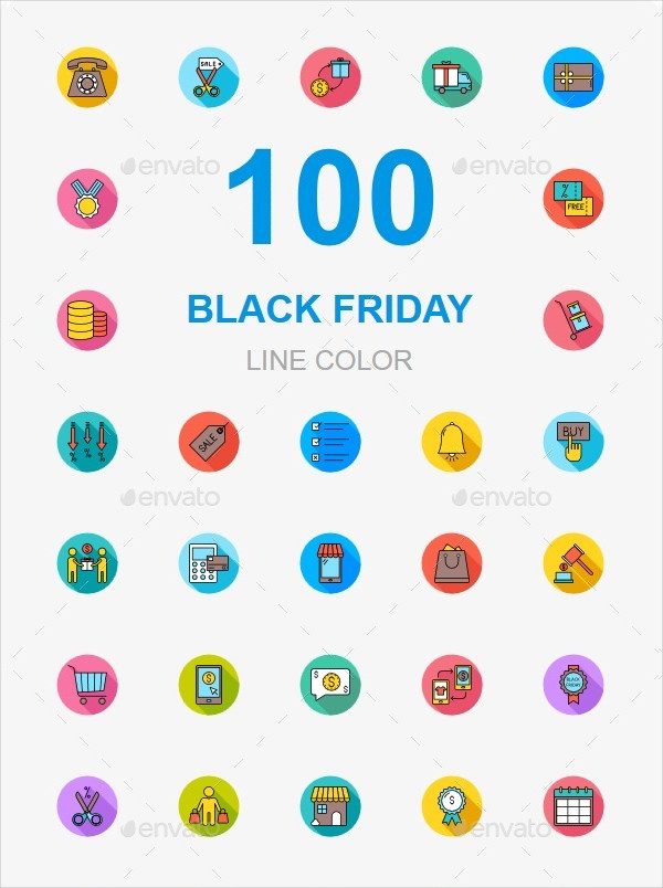 100 Black Friday Flat Icons