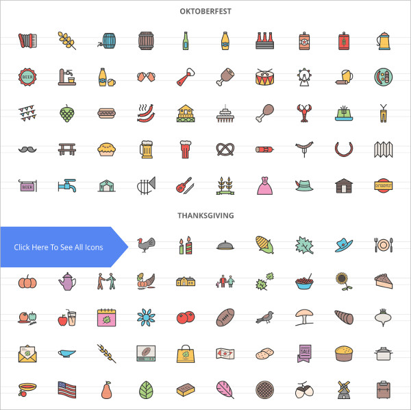 230 Observances & Holiday Filled Line Icons