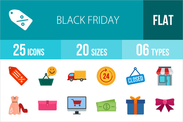 25 Black Friday Flat Multicolor Icons
