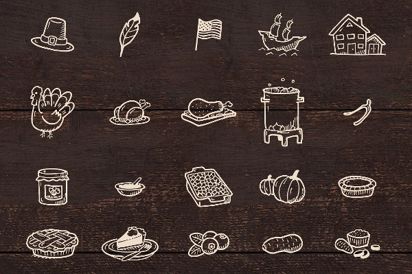 50 Thanksgiving Hand Drawn Icons
