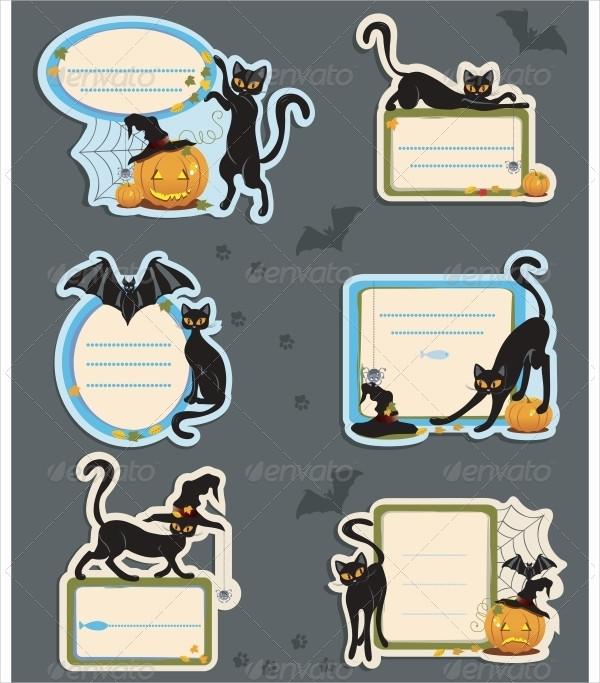 6 Cat Halloween Label Templates