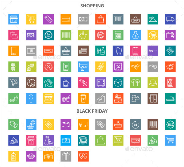 85 Black Friday Line Multicolor B/G Icons