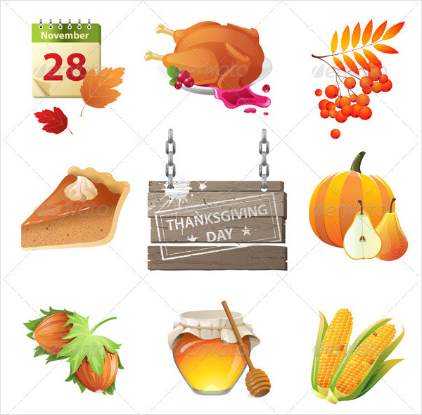 9 Highly Detailed Thanksgiving Day Icons