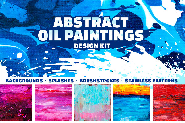 Abstract Oil Paintings Design Kit