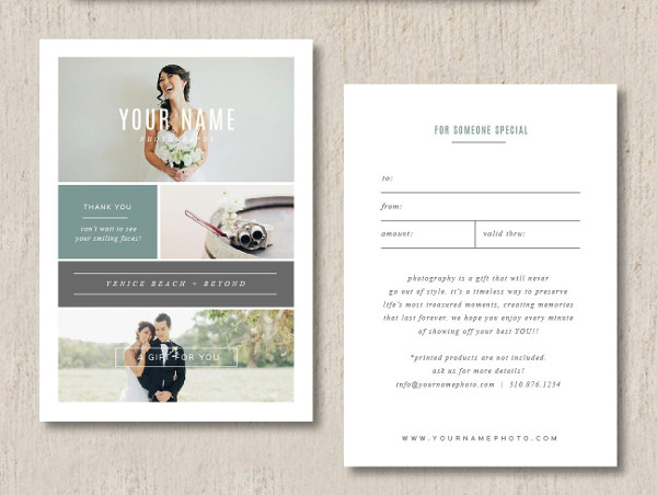 Best Photographer Gift Card Templates