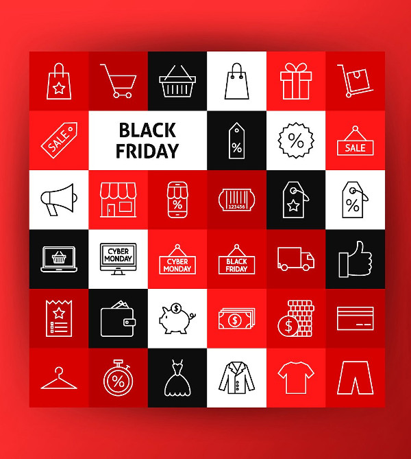 Black Friday Line Art Icons