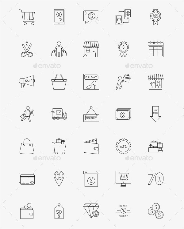 Black Friday Line Icons