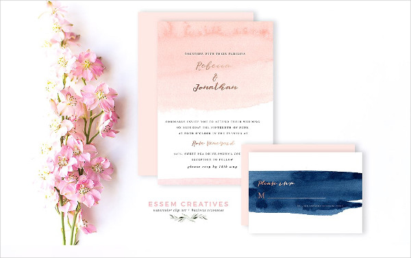 Blush and Navy Abstract Watercolor Backgrounds