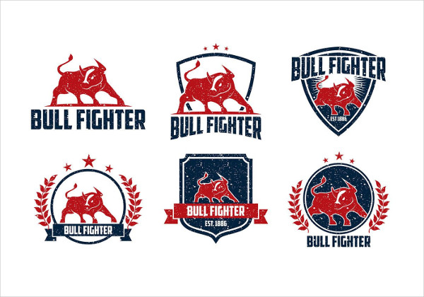 Bull Fighter Rough Logos Free Download