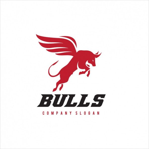 Bull with Wings Logo Template Free