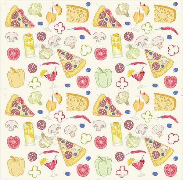 Cartoon Pizza Seamless Pattern