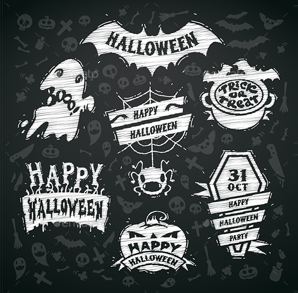 Chalk Halloween Label Template Set