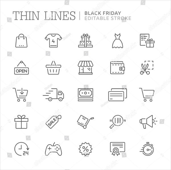 Collection of Shopping Related Line Icons