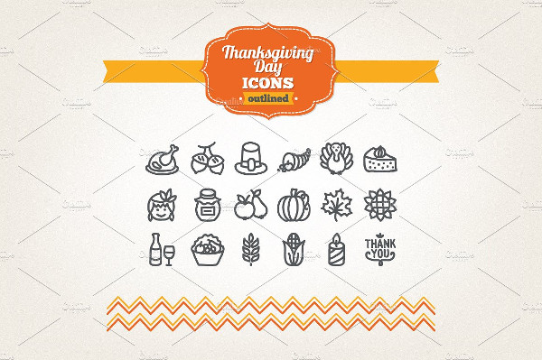 Collection of Hand Drawn Thanksgiving Day Icons