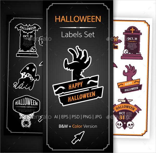 Colorful Halloween Design Labels Set