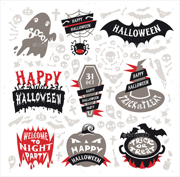 Cool Halloween Label Template Set