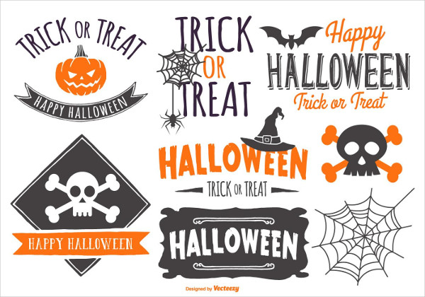 Free Typographic Halloween Label Collection Download