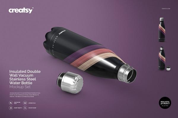 Gym Vacuum Bottle Mockups Set