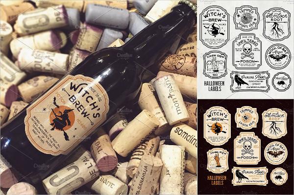 Halloween Bottle Labels & Potion Labels Vector Illustration