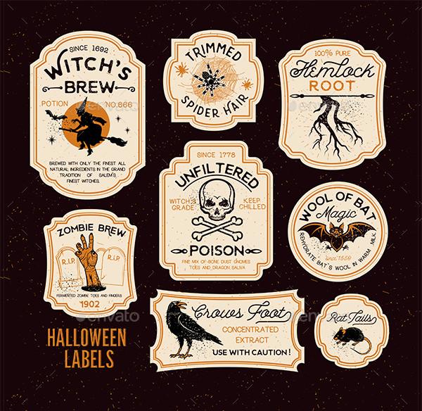 Halloween Bottle Labels Vector Illustration