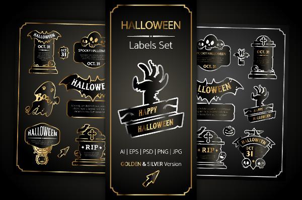Halloween Design Golden Labels Set