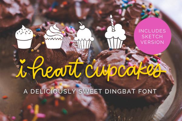 Heart Cupcakes Dingbat Font