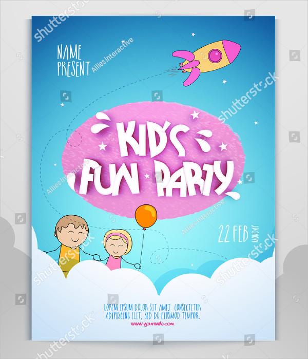 Kid's Fun Party Celebration Flyer