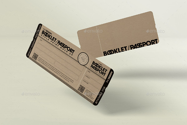 Passport Booklet Boarding Pass MockUp