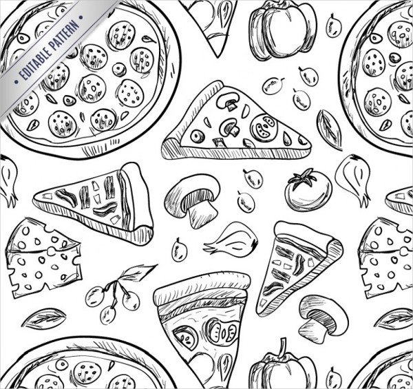 Pizza Drawings Pattern Free Download
