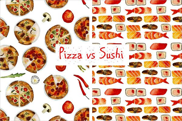 Pizza and Sushi Pattern