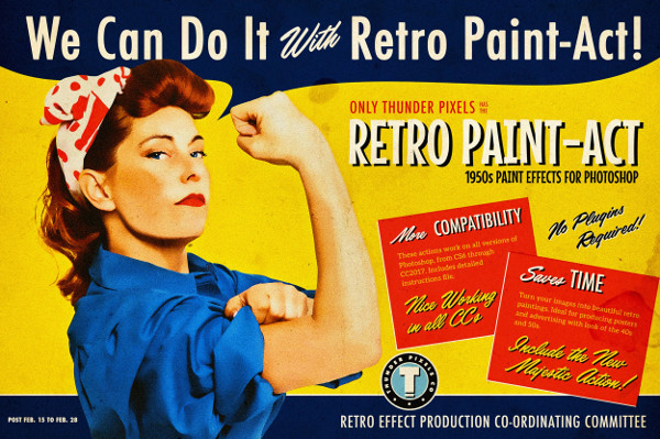 Retro Paint Photoshop Actions Kit